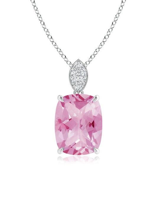 October Birthstone Pendant Necklaces Cushion Cut Pink Tourmaline Solitaire Pendant with Diamond Bail in 950 Platinum... by Angara.com