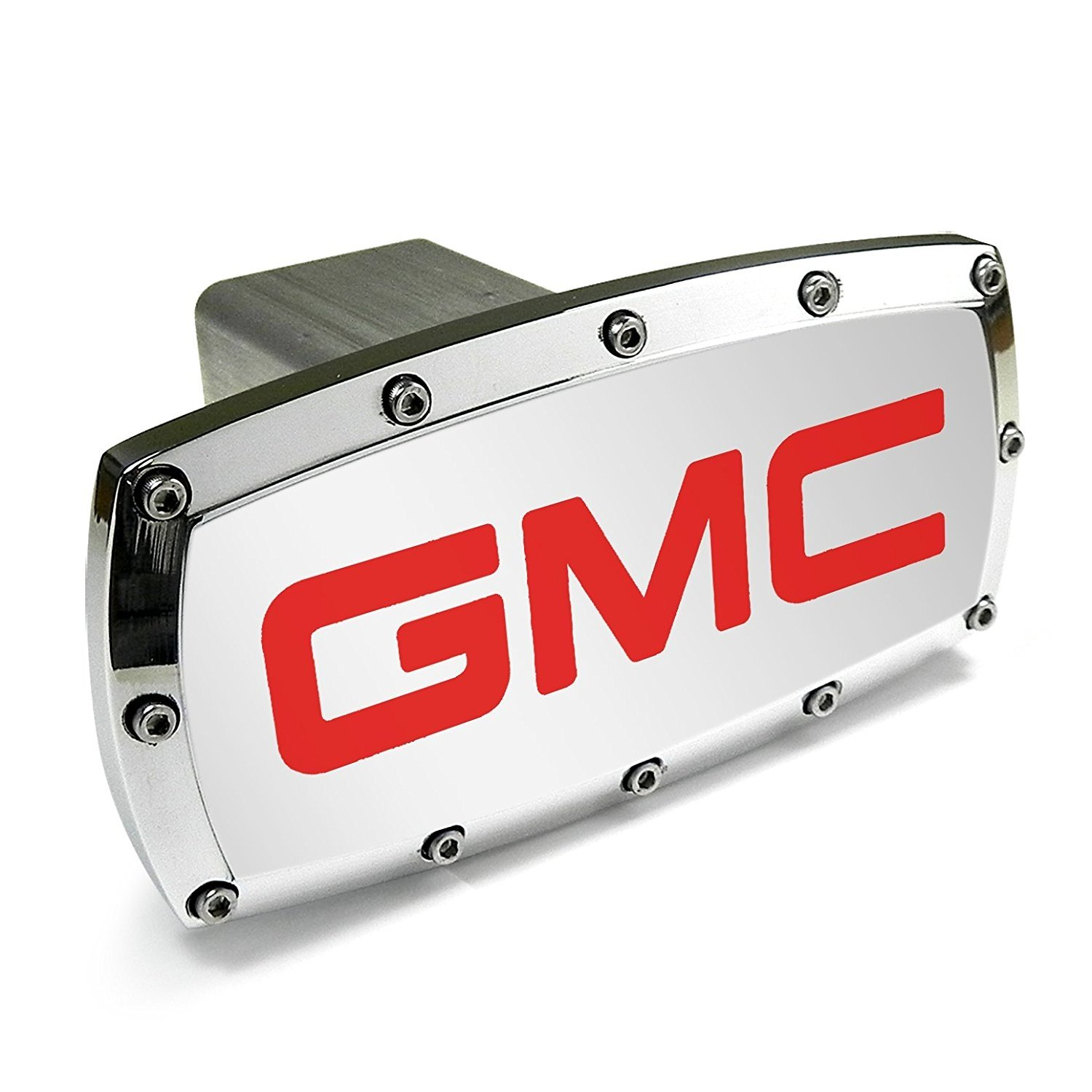 Jewelry For Cars for CarBeyondStore GMC Sierra Black Aluminum Plate Insert on ABS Plastic 2 inch Tow Hitch Cover