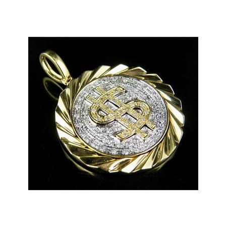 0.625' Team Logo Pendant (10K Yellow Gold Canary Diamond Dollor Logo Medallion Pendant 0.60 Ct 1.5