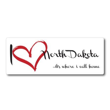 I Love (heart) North Dakota, It's Where I Call Home Car Magnet 3x8