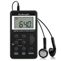 Mini Digital Portable Pocket Handy LCD AM FM Radio 2 Band Stereo Receiver with Preset, Alarm Clock and Earphone