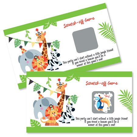 Jungle Party Animals - Safari Zoo Animal Birthday Party or Baby Shower Game Scratch Off Cards - 22 Count - Vbs Jungle Safari