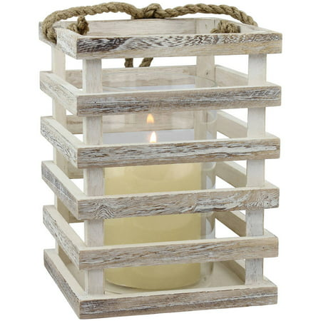 Medium Weathered White Beach House Lantern - Lantern Centerpieces For Wedding