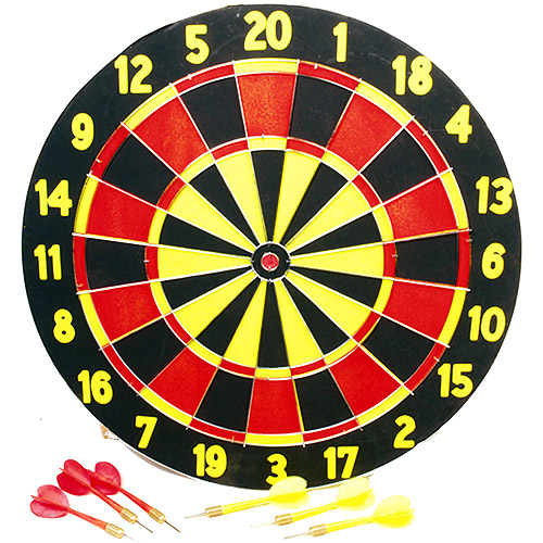 Classic Games Collection TWO-SIDED DART BOARD WITH SIX TRU-FLIGHT DARTS