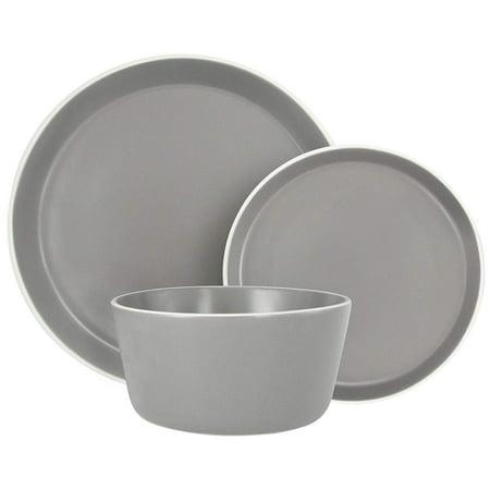 Melange Stoneware 18-Piece Dinnerware Set (Moderno Grey)   Service for 6  Microwave, Dishwasher & Oven Safe   Dinner Plate, Salad Plate & Soup Bowl (6 Each) ()