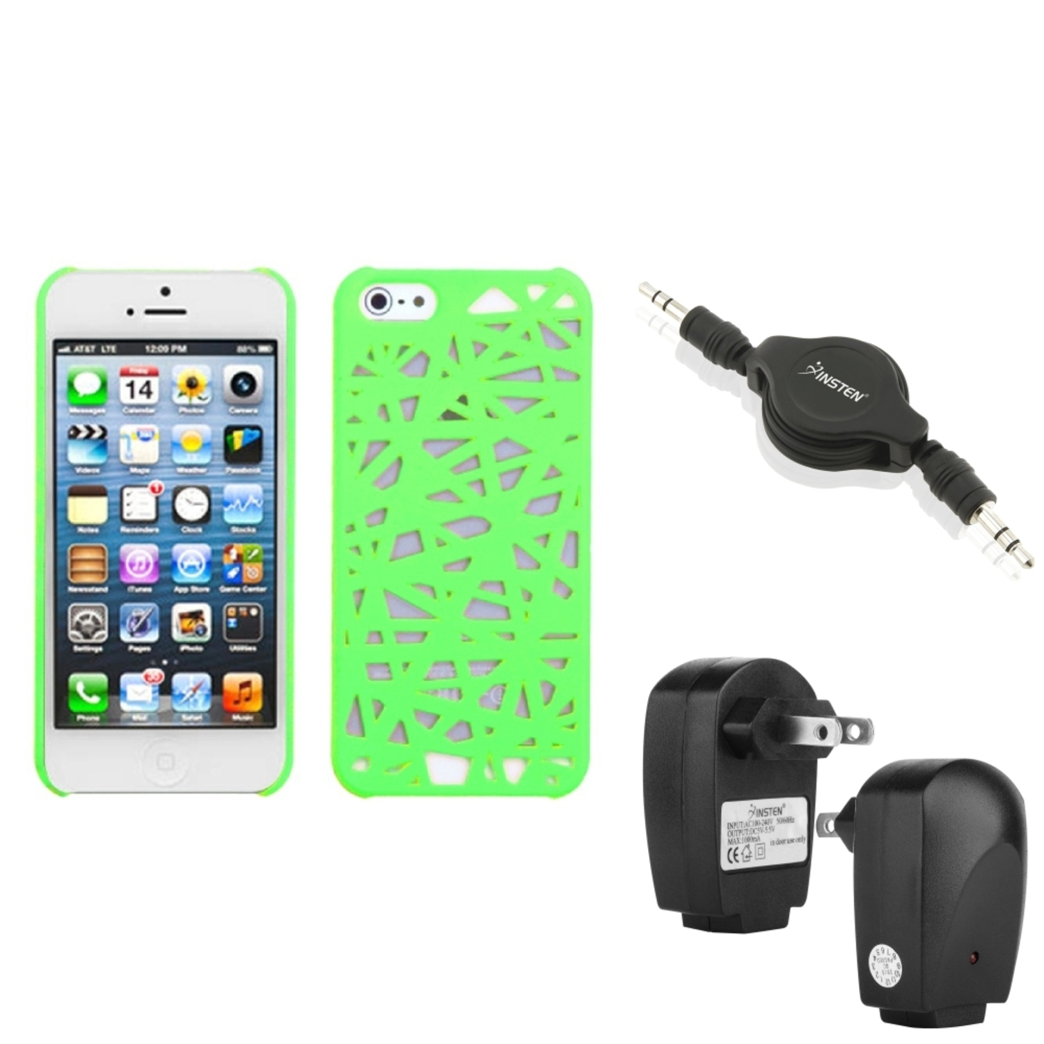 Insten Wall Charger+Audio Cable+Green Bird Nest Mesh Hard Case For Apple iPhone 5 5G Gen