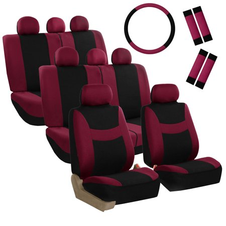 Burgundy 3 Seat - FH Group Light & Breezy Seat Covers for Auto, 3 Row 8 Seaters Full Set with Steering/Belt Pad Cover, Burgundy and Black