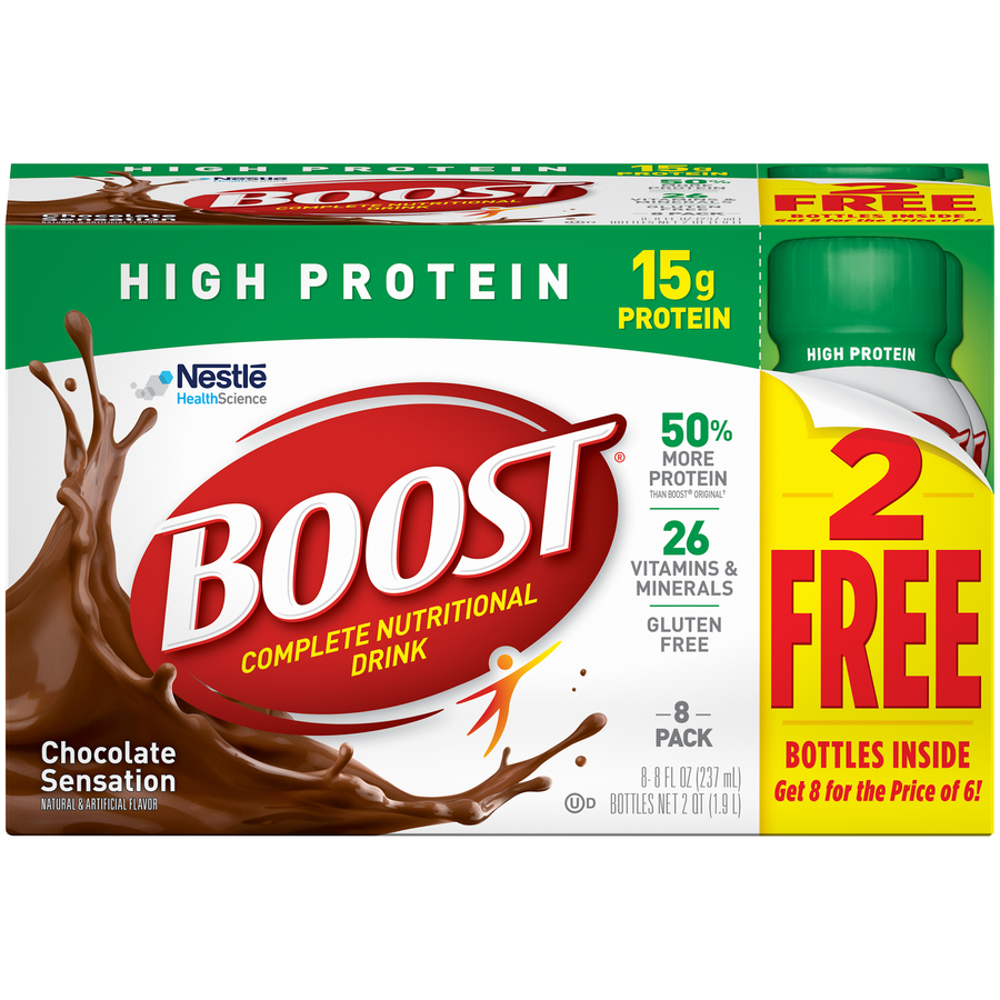 Boost High Protein Complete Nutritional Drink, Chocolate Sensation, 8 Fl oz, 8 Ct