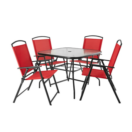 Mainstays Albany Lane 5-Piece Steel Patio Outdoor Dining Set, Red