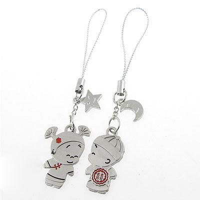 2 Pcs Metal Moon Star Dangle Pendant Mobile Phone Straps for Lovers Heart Cell Phone Pendant