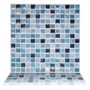 "Tic Tac Tiles - 12""x12"" Premium Anti Mold Peel and Stick Wall Tile Backsplash in Square Sea Breeze (5 Tiles)"