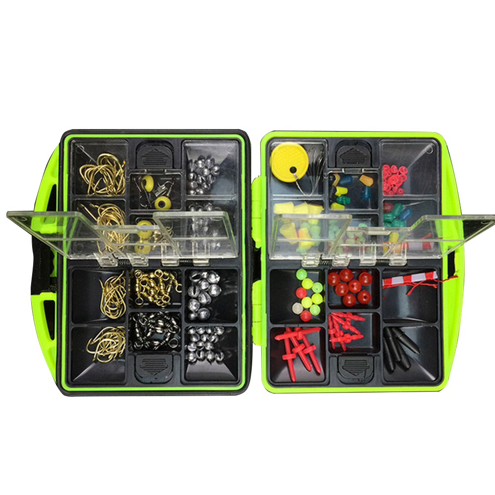100 Pcs 24 Kinds Fishing Tackle Kit Box Multifunctional Fishing Gear Accessories with Tackle Box by