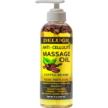 DELUGE - ANTI-CELLULITE MASSAGE OIL - With COFFEE BEANS - Targets Unwanted Fat Tissue and Cellulite, Firms, Tightens, Tones, Relieves Sore Muscles, Moisturizes -100% Natural. Net Wt. 8 oz