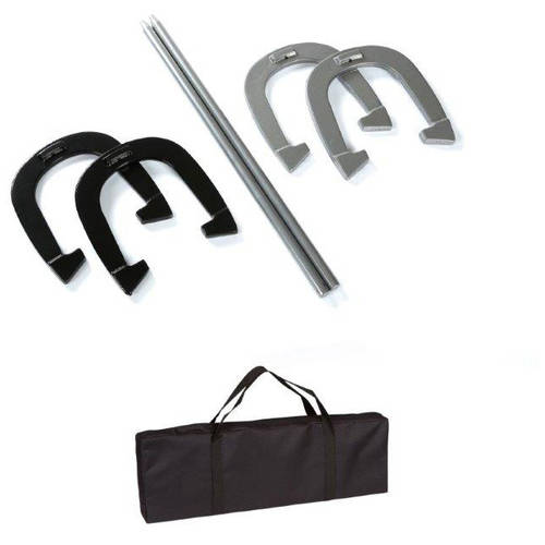 Trademark Innovations Premium Reinforced Carbon Steel Horseshoe Set with Carry Bag, Black and Gray by Trademark Innovations