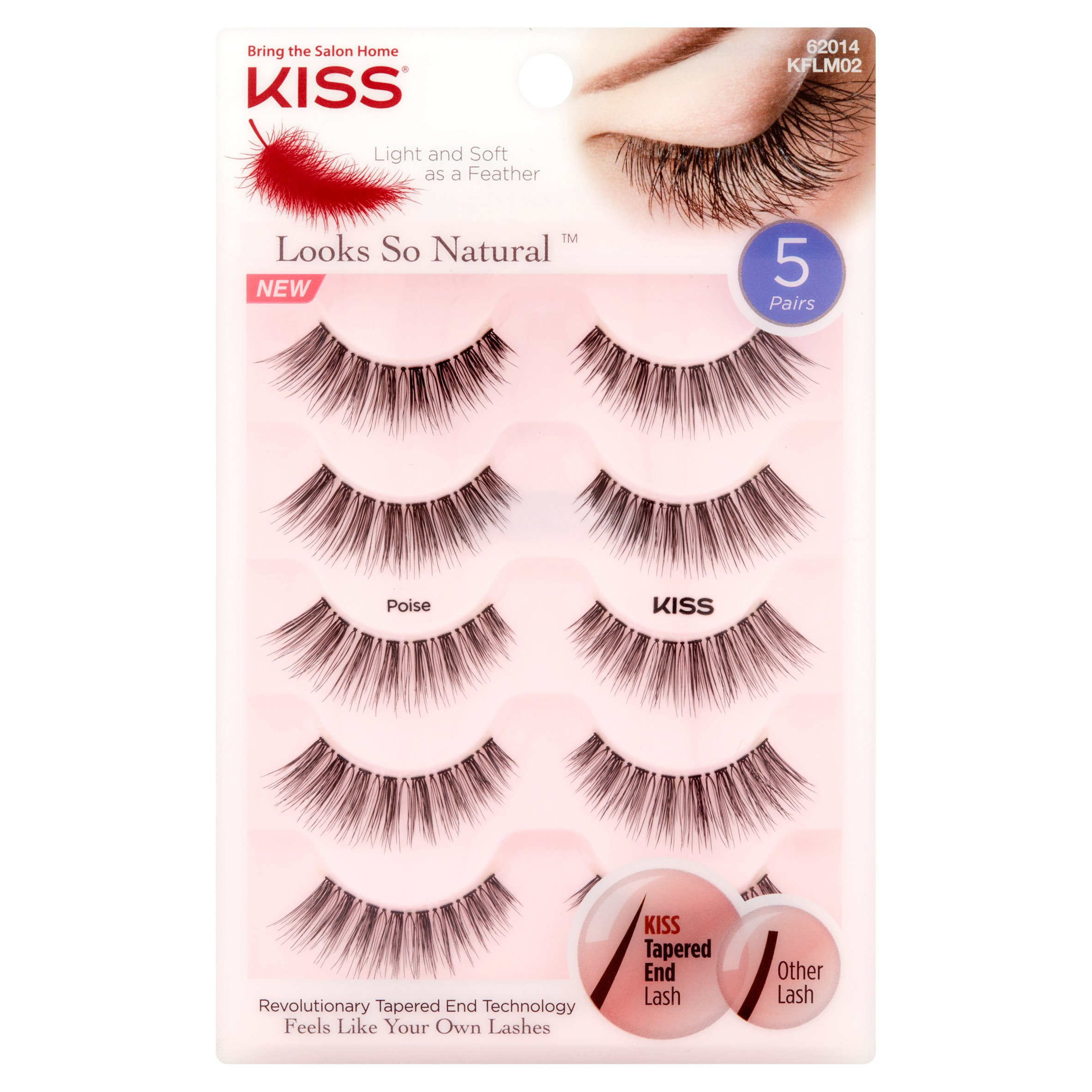 KISS Looks So Natural False Eyelashes, Poise, 5 pairs