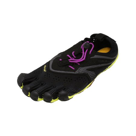 Vibram Five Fingers Women's V-Run Black / Yellow Purple Ankle-High Running Shoe - (Nike Roshe Run Black And White Womens Australia)