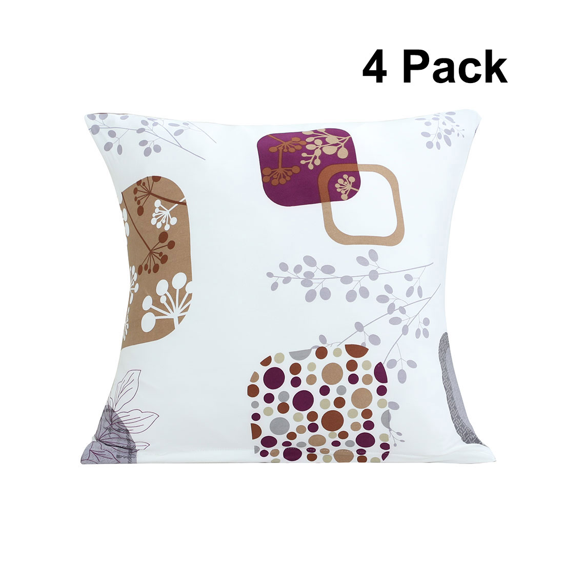 Home Office Polyester Flower Print Square Decoration Pillowcase Cushion Cover