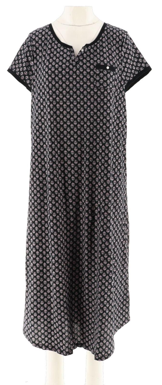 Carole Hochman Teardrop Jersey Long Gown Shelf Bra Black 1X NEW A302163