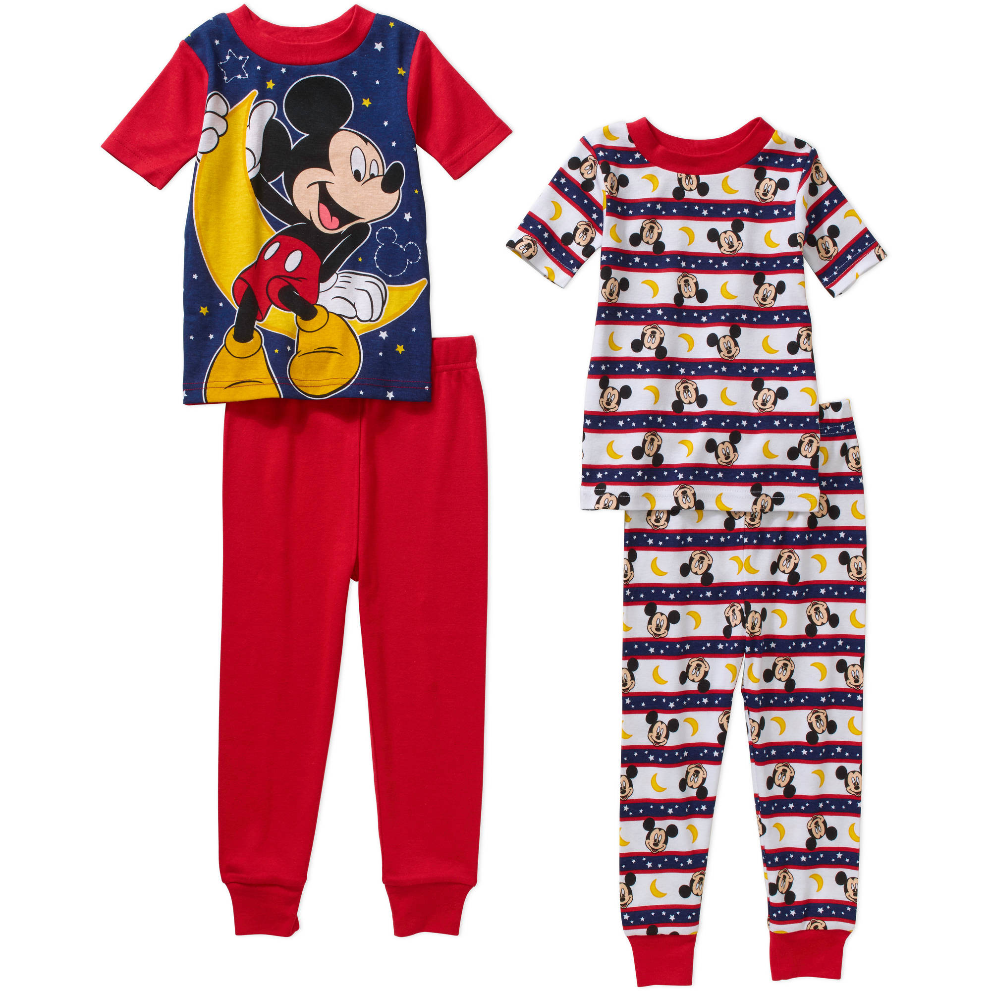 Mickey Mouse Toddler Boy Cotton Tight Fit Short Pajama Sleep Set, 4-Pieces