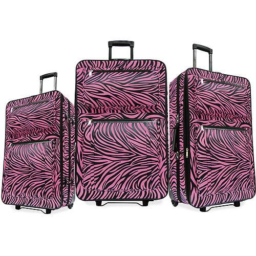 Pink Zebra Animal Print 3-Piece Fashion Luggage Set