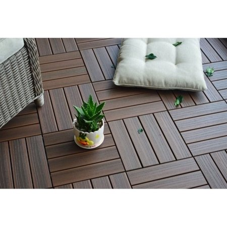 12 x 12 Eco-Friendly Wood-Plastic Composite Interlocking Decking Tile - Walnut WPC4 (11 (Best Composite Decking 2019)