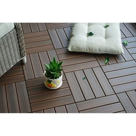 12 x 12 Eco-Friendly Wood-Plastic Composite Interlocking Decking Tile - Walnut WPC4 (11 tiles/box)