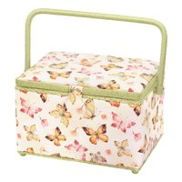 Sewing Basket Rectangle Size Tan Butterfly Pattern Storage Sewing Box Hobby