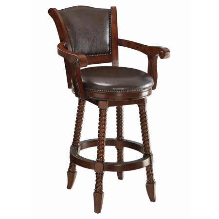 Traditional Rope Twist Wooden Bar Stool Brown