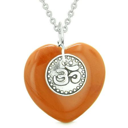 Red Jasper Heart Necklace - Magic OM Tibetan Spiritual Powers Puffy Heart Amulet Red Jasper Pendant 18 inch Necklace