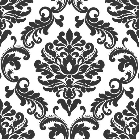 NuWallpaper Ariel Black and White Damask Peel & Stick Wallpaper - Black And White Halloween Wallpaper
