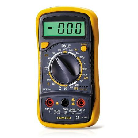 Pyle PDMT29 Digital LCD AC, DC, Volt, Current, Resistance & Range Multimeter with Rubber Case & Stand