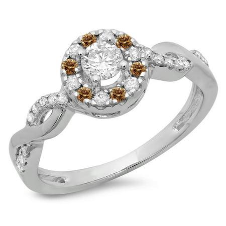 0.55 Carat (ctw) 18K White Gold Round Cut Champagne & White Diamond Ladies Swirl Bridal Halo Engagement Ring 1/2 CT