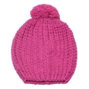 Girls Fuchsia Rib Stitch Pompom Bobble Beanie Hat