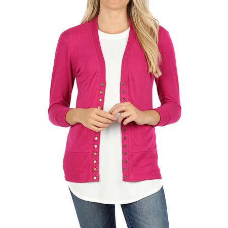 - Women Classic Thin Snap Button Front V-Neck Button Down 3/4 Sleeve Ribbed Knit Cardigan