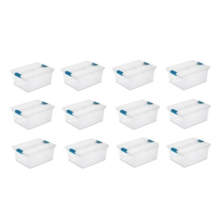 Sterilite Deep File Clip Box Clear Storage Tote Tub Container with Lid, 12