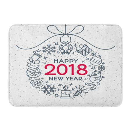 GODPOK Flat 2018 Christmas Ball Consisting of Line Style and Sign Happy New Year on Snow Holiday Greeting Winter Rug Doormat Bath Mat 23.6x15.7 inch ()
