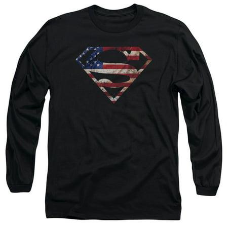 Superman Super Patriot Mens Long Sleeve Shirt - Mens Superman