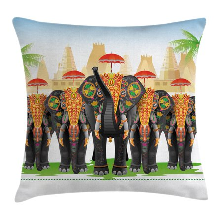 Ethnic Throw Pillow Cushion Cover, Elephants in Traditional Costumes with Umbrellas Indian Ceremony Ritual Graphic, Decorative Square Accent Pillow Case, 20 X 20 Inches, Multicolor, by Ambesonne (Indain Costume)