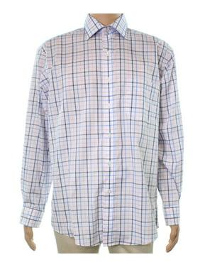 Club Room NEW White Combo Mens 15 Long-Sleeve Regular-Fit Dress Shirt
