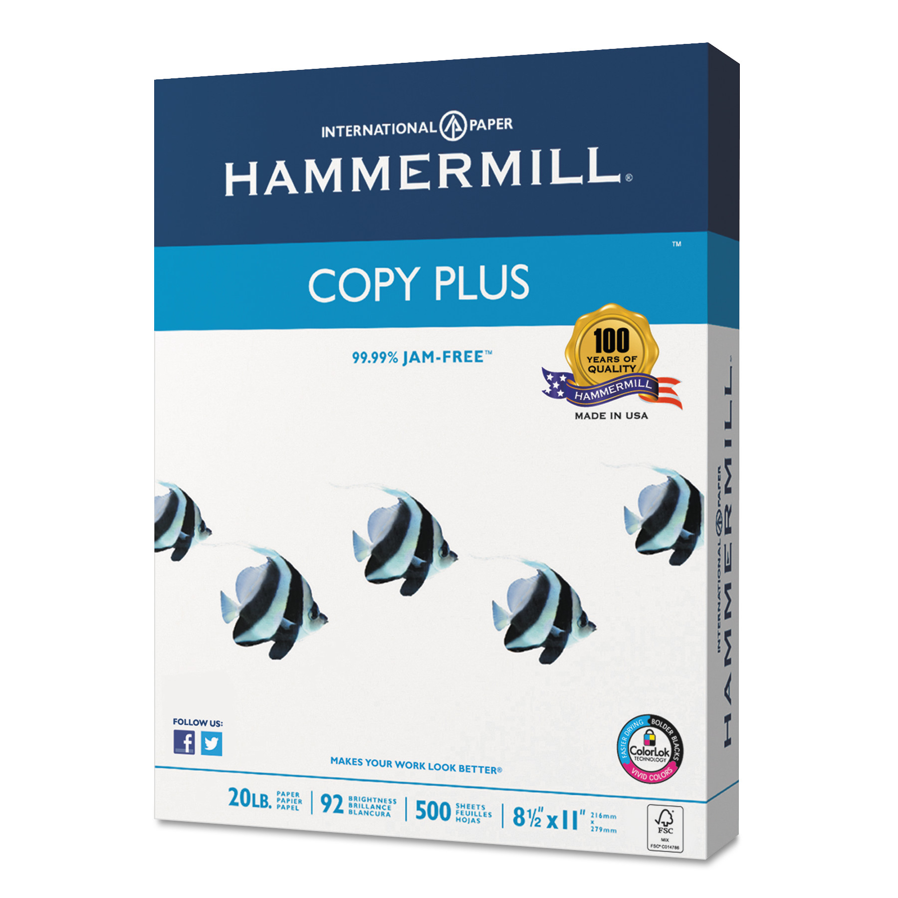 Hammermill Copy Plus Paper, 92 Bright, 20lb, 8-1/2 x 11, White, 200,000 Sheets/CT