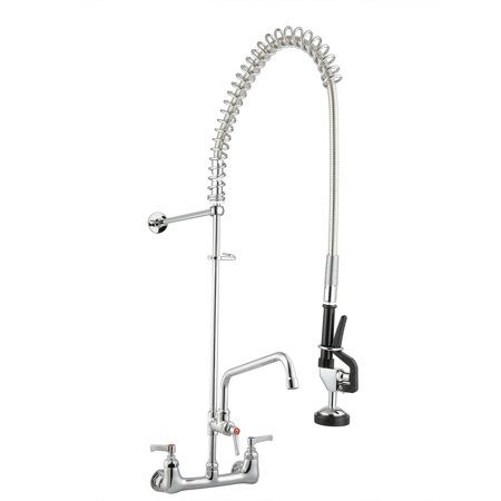 Series Double Handle - Double Handle Brass Backsplash Pre-Rinse Commercial Faucet Chromed with 12