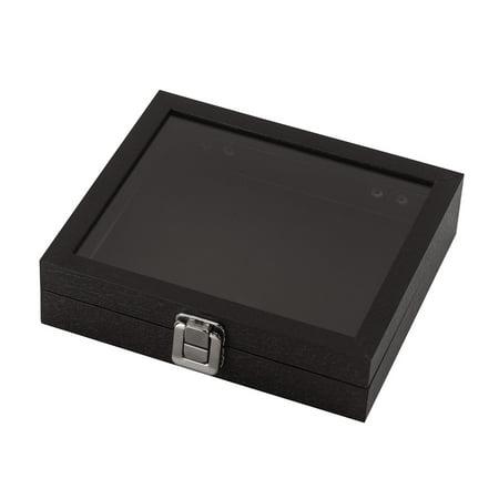 "Small Black Faux Leather Glass Top Jewelry Box (8¼""L x 7¼""W x 1¾""H )"