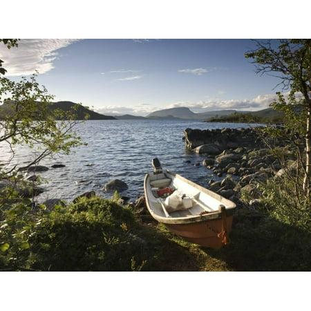Boat on Lake Kilpisjarvi, Kilpisjarvi, Arctic Circle, Lapland, Finland Print Wall Art By Doug Pearson - Lake Superior Circle