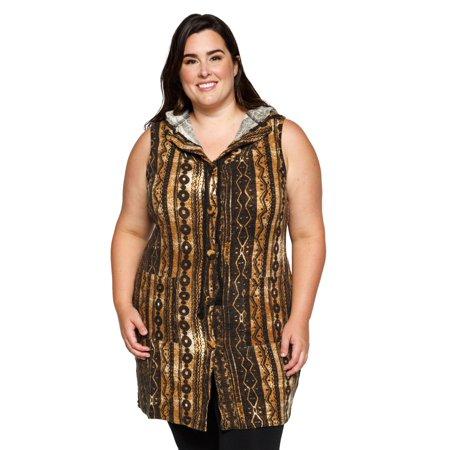 59276ddc5b1357 Xehar - Xehar Women s Plus Size Sleeveless Hooded Boho Cardigan ...