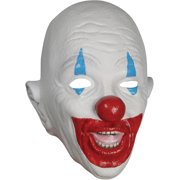 Star Power Adult Bald Creepy Clown Latex Mask, White Blue Red, One Size
