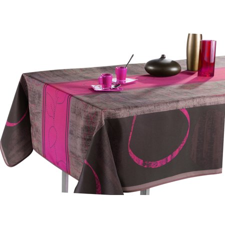 Tablecloth Grey and Brown Modern Fuchsia, Stain Resistant, Washable, Liquid Spills bead up, 60 x 80-Inch Rectangular, Seats 8 to 10 People (Other Size Available: 63