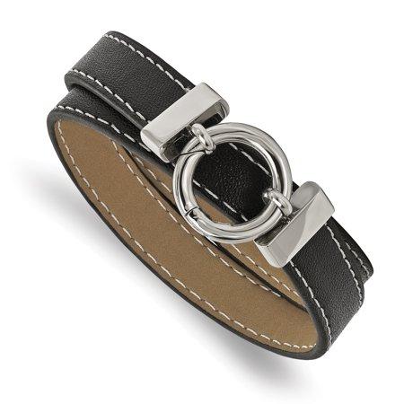 Stainless Steel Polished Black Leather Wrap Bracelet - image 3 de 3