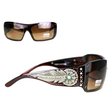 Montana West Ladies Sunglasses Turquoise Stone Daisy Concho Silver Feather UV400 - Wholesale Wayfarer Sunglasses Bulk