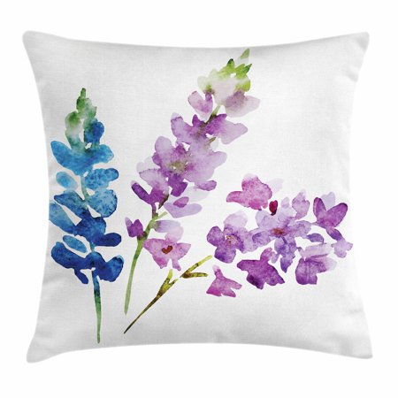 Purple Throw Pillow Cushion Cover, Branches of Watercolor Flowers in Spring Shades of Purple and Blue, Decorative Square Accent Pillow Case, 20 X 20 Inches, Violet Lavender Azure Blue, by Ambesonne (Lavender Pillow)