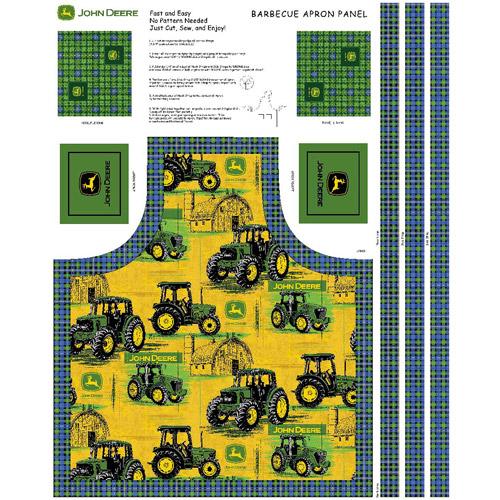 Springs Creative John Deere Tractors Allover Butcher Block Apron Cotton Fabric